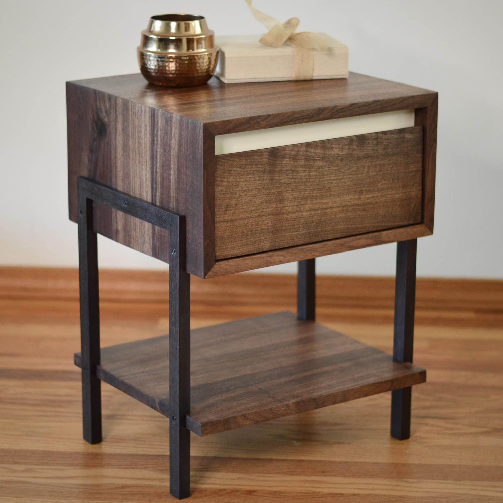 White Walnut Coffee Table: Dayton Walnut Side Table