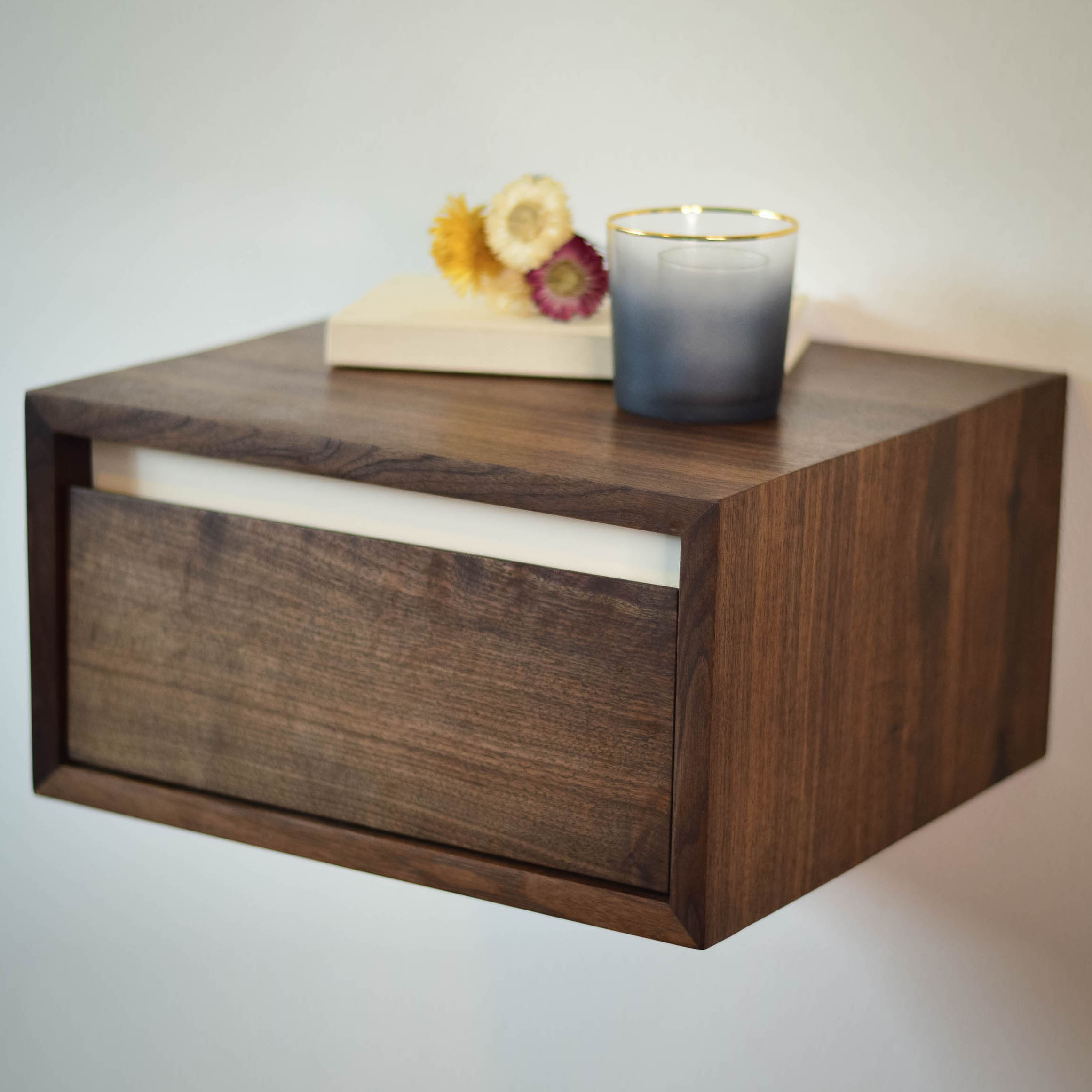 Lenora Floating Walnut Side Table White Accent Thisisurbanmade